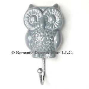 Gray owl wall hook bathroom towel holder jewelry hanger for Bathroom jewelry holder