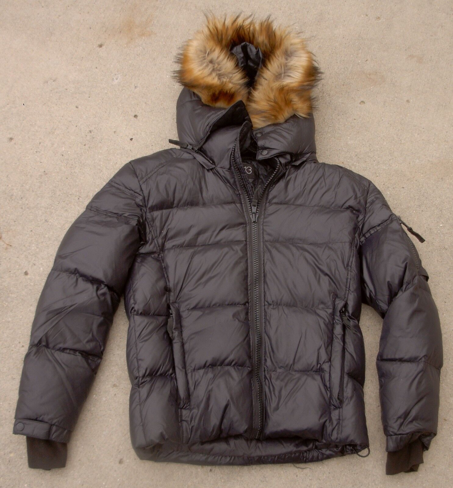 S13 Hooded Down Coat Faux Fur Trim Winter women's size  Small