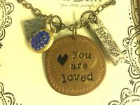 Natural Life You Are Loved Xoxo Blessed Necklace Gift Jewelry In Box