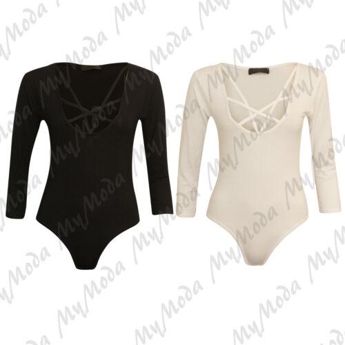 Ladies Women/'s Cross Over Strappy Scoop Neck Long Sleeve Bodysuit Leotard Top