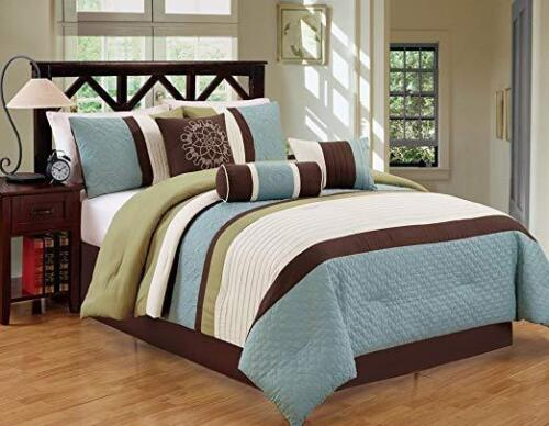 7Pcs Luxury Modern Stripe Comforter Bed-in-a-Bag Set Queen Size Sage//Coffee love