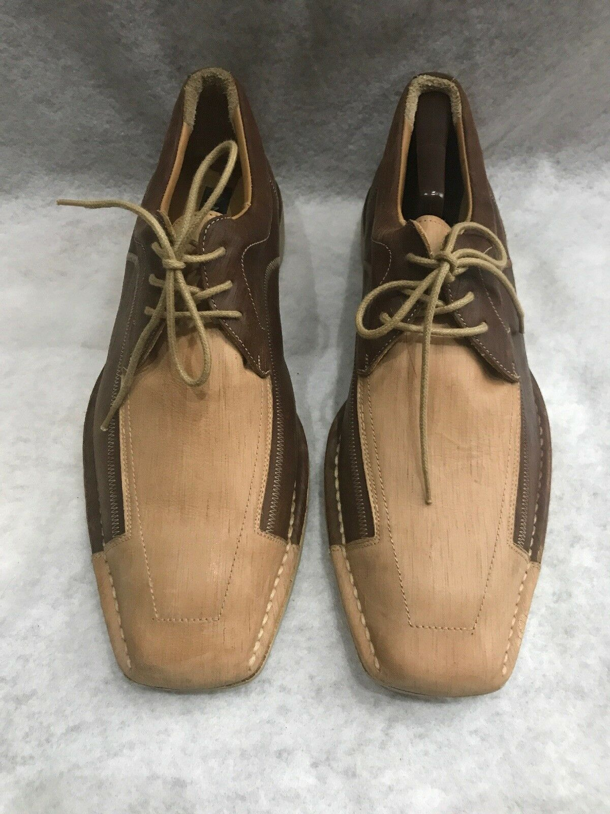 71fe4bc9da Mezlan Galloway Oxford Lace Up shoes Spain Beige Brown Calfskin Leather  11.5 M