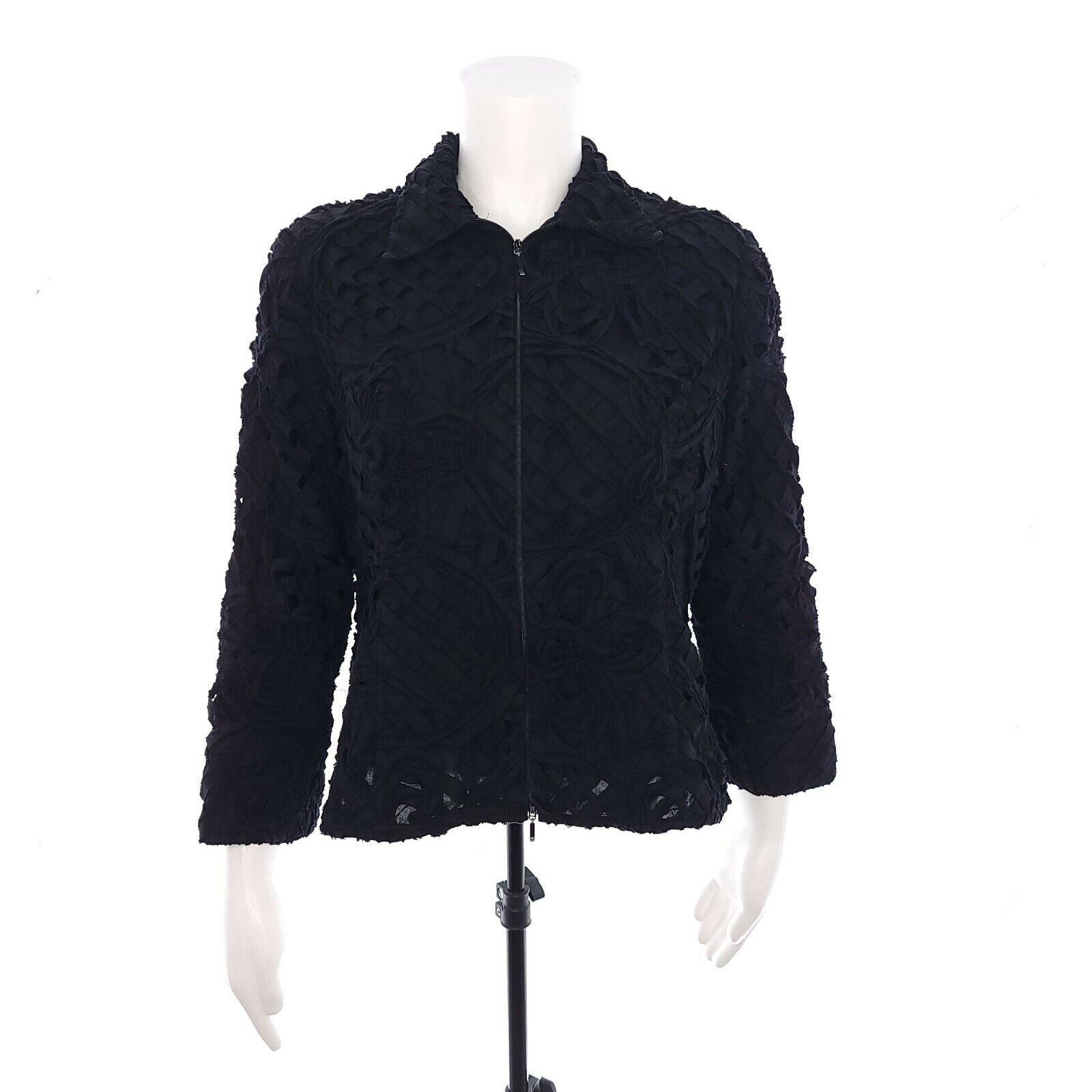 Samuel Dong Womens Large Black Full Zip Cotton Jacket