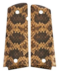 Custom-Full-Size-1911-Grips-Ambidextrous-Rattlesnake-Rattler-Snake-Skin-Colt-etc