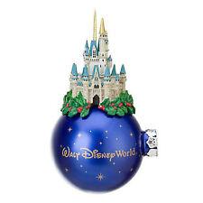 Disney World Parks Cinderella Castle Christmas Holly Wrap Ornament Glass Ball