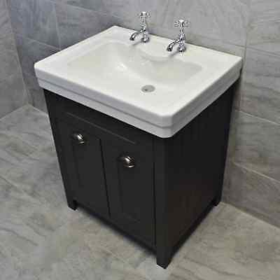 Tap Hole Ceramic Basin Sink, Dark Grey Bathroom Vanity Unit