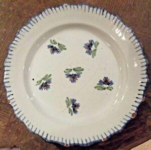 Ancienne-assiette-de-l-039-est-faience-19-eme-deco-floral-WALY-ou-EPINAL