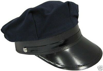 NAVY BLUE COTTON POLICE POLICEMAN CHAUFFEUR CAP PARTY COSTUME HAT - ADJUSTABLE