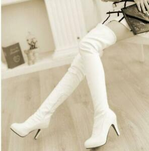 Sexy-Womens-Stiletto-Heel-Pull-On-Zip-Over-Knee-High-Thigh-Boots-Casual-Shoes
