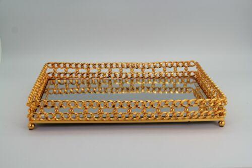 Tablett Gold 24k Frühstückstablett Metall vergoldet Serviertablett Dekotablett O