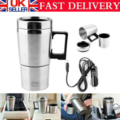 Portable 500ml Water Heater Kettle Mug Electric Pot Stainless-Steel 12V For Car