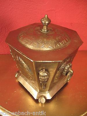 Antike orientalische Zuckerdose versilberte Dose Deckeldose gemarkt