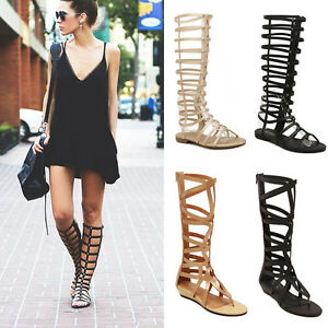 Fashion-Ladies-Strappy-Gladiator-Sandals-Knee-High-Boots-Flat-Summer-Shoes-US