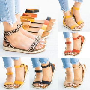 Women-039-s-Ladies-Strap-Ankle-Buckle-Flatform-Wedges-Woven-Sandals-Roman-Shoes-Size