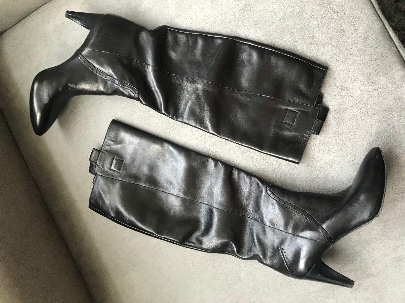 Costume National compensés à bout pointu en cuir noir Pointure 40 US 9.5