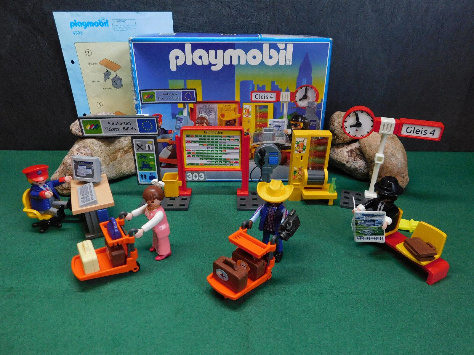 Playmobil Playmobil Playmobil Rarität Bahnhofseinrichtung 4303-A 1999 mit gel. BA und OVP 3545ca