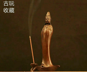 Old Tea Pet Pure Solid Copper Guan Yin chinese Statue Incense inserted Kwan-yin