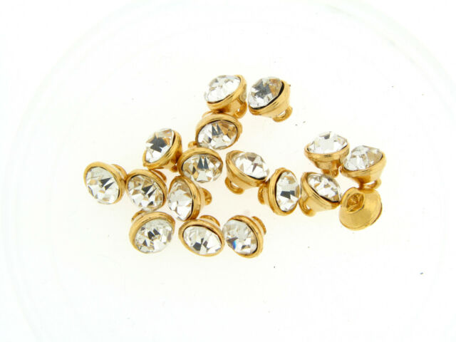 Vintage Gold Large Clear Faceted Brilliant Glass Rhinestone Drop Shank Buttons