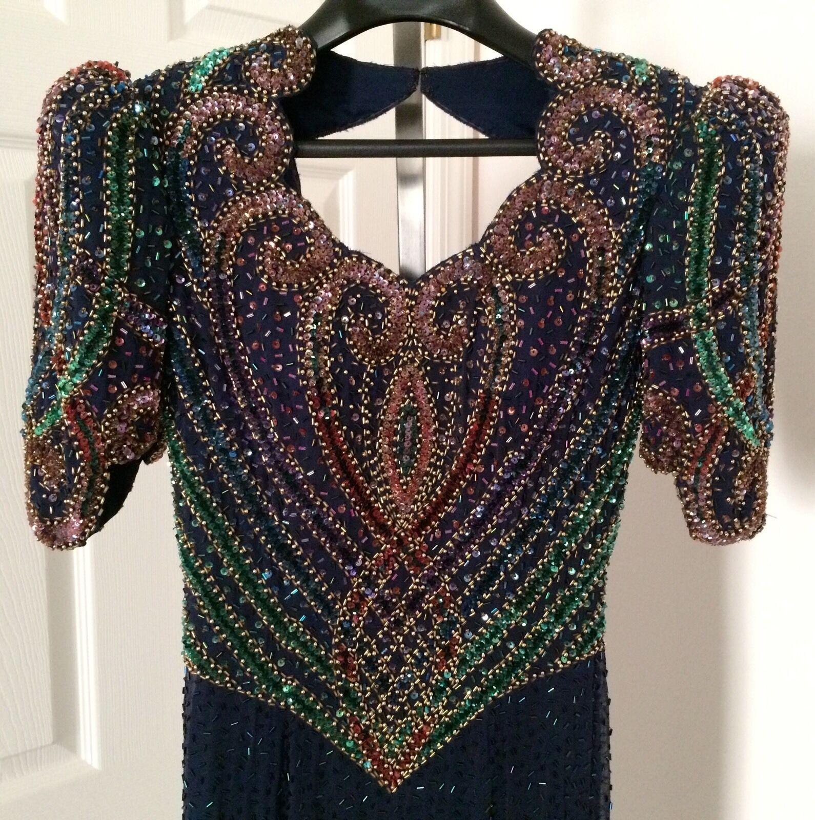 Landa 100% Silk Sequin Beaded Prom Formal Pageant Dress Gown Blau Grün Sz 6