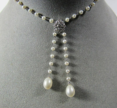"14KT 14K White Gold Natural Diamond Lariat Cultured Pearl 17"" Teardrop Necklace"