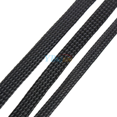 Black 4//6//8//10mm Expandable Braided PET Sleeving Cable High Densely