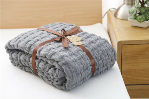 Winter Bedroom Knitted Blanket Bed warm Throw Light weight Soft Sofa Couch Cover