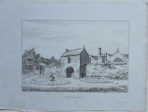 1822-ANTIQUE-PRINT-OLD-MANSION-AT-BRADLEY