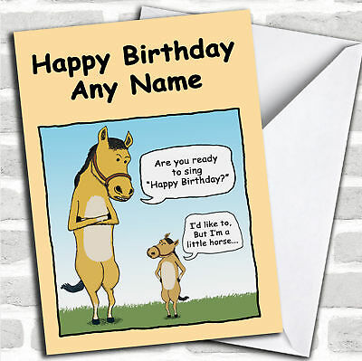 Little Horse Funny Birthday Customised Card