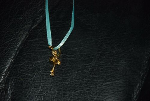 Madame Alexander Gold Ballerina Necklace w//Blue satin ribbon New