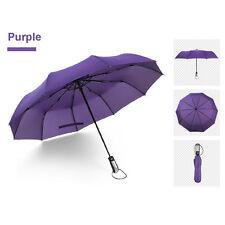 Purple Auto Open/Close Umbrella Windproof Reinforced Canopy Ergonomic Handle