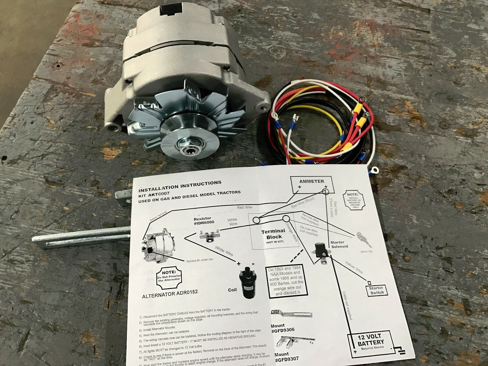 Ford Naa Jubilee Tractor 12 Volt Alternator Alt Conversion Kit Wire Diagram Naa10300alt Ebay