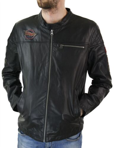 Men Black Distressed Biker Racing Jacket Badge Nehru Vintage Retro Motorcycle