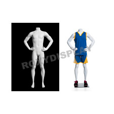 Child Boy Fiberglass Matte White Headless Athletic Sports Mannequin