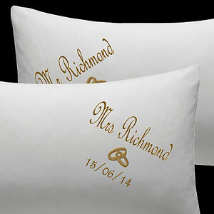 Image Is Loading Personalised Wedding Pillow Cases Embroidered Mr And Mrs