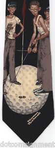 Norman-Rockwell-034-JUST-MISSED-034-Golf-4-Boys-Golfing-Silk-Tie-Black-1995