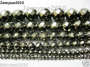 Natural-Iron-Pyrite-Gemstone-Faceted-Round-Beads-16-039-039-3mm-4mm-6mm-8mm-10mm-12mm