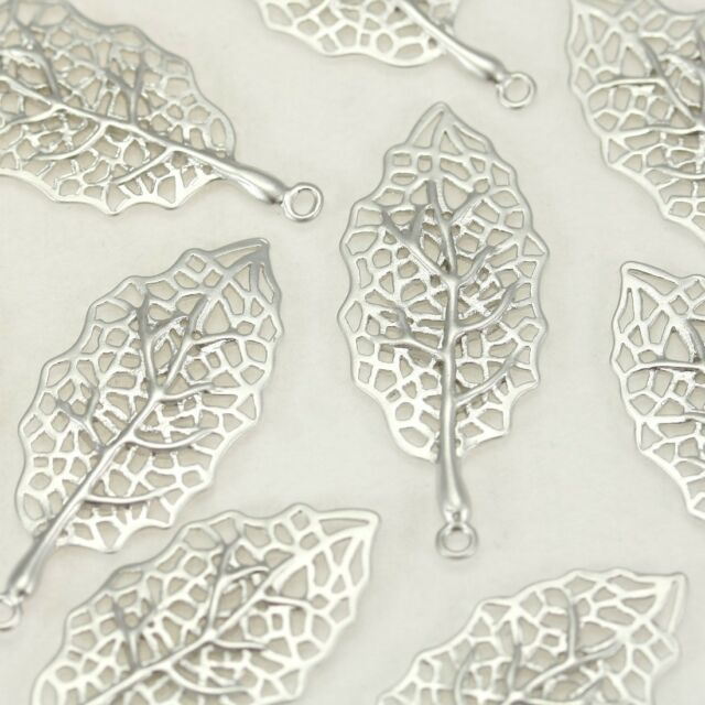 Leaf Filigree Metal Beads Pendant Charm - earrings necklace jewelry making #73