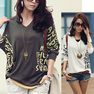 Lady-Womens-Fashion-Loose-Casual-3-4-Sleeve-Batwing-Summer-Blouse-Tops-4-Color