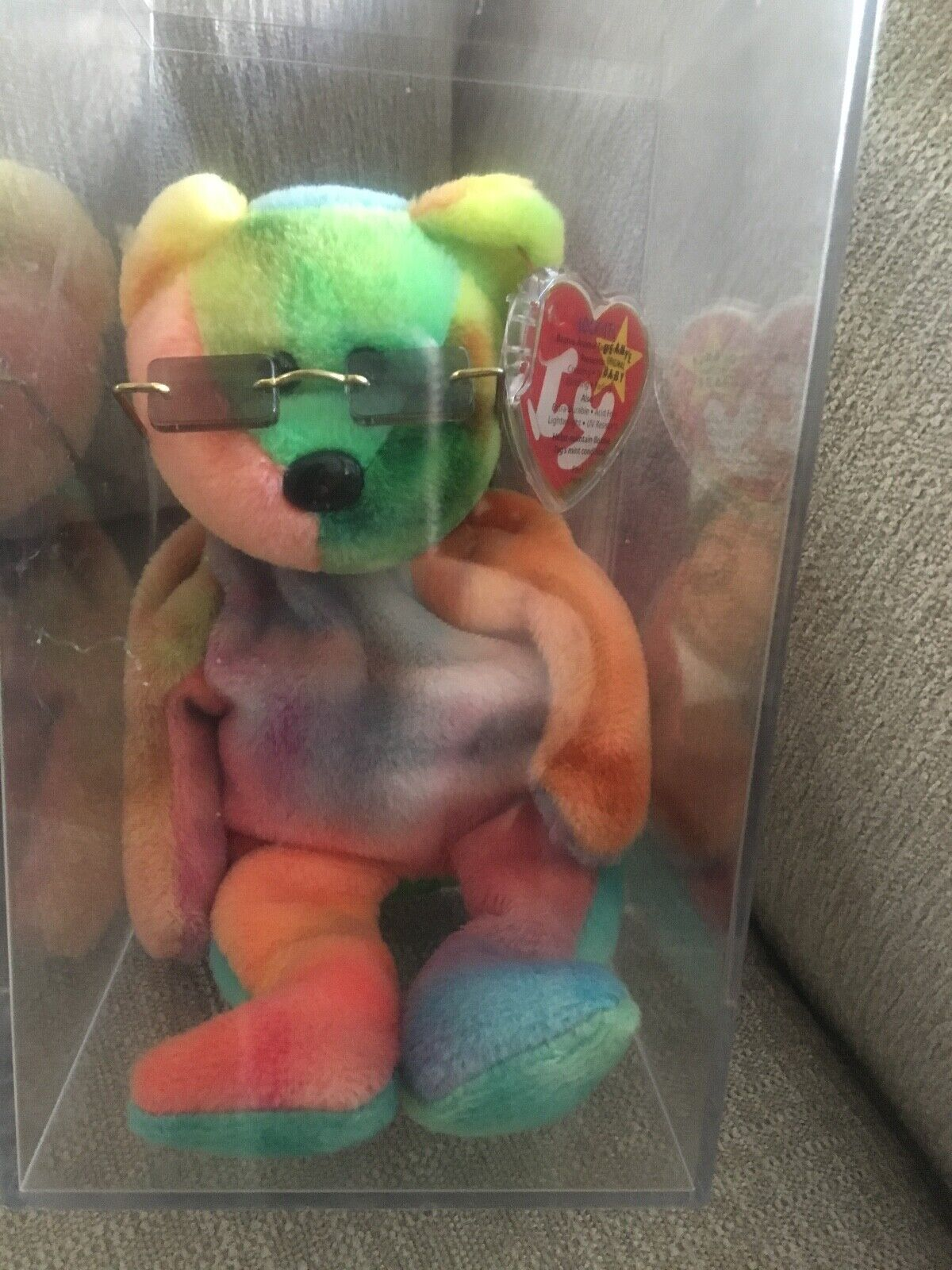 RARE RARE RARE 1993 Garcia Retired Ty Beanie Baby. In container, with his glasses. fba4d4