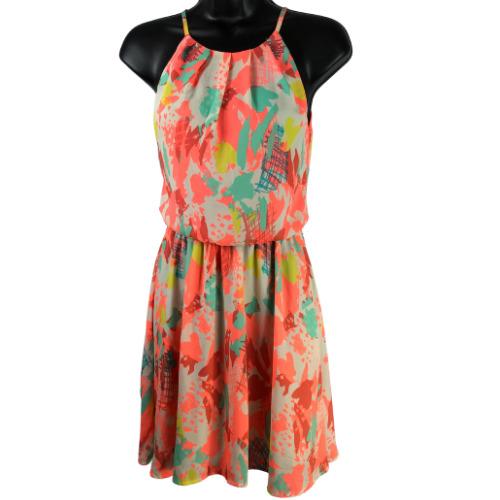 Lush Neon Multi-Color Short Sleeveless Dress Junio