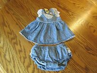 Max Studio Baby Denim Dress With Diaper Cover Baby Girl Size 3-6m