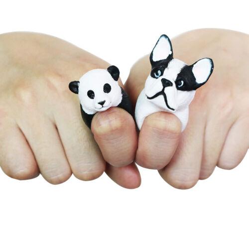 Adorable 3D cerdo dibujos animados Animales Perro Panda Tigre Niños Regalo Decoración de Dedo Anillo Abierto T