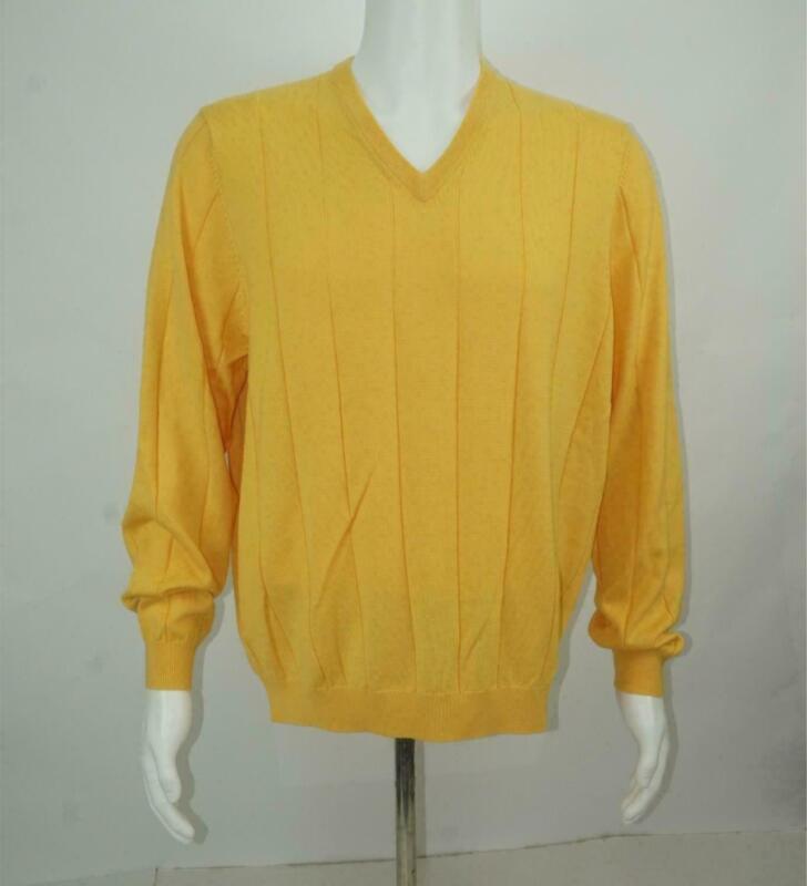 Brooks Brothers V-ausschnitt Pullover Merino Wolle Seide Blend Gelb Herren Größe