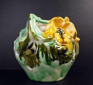 En Herbe Vase Art-nouveau C1900 Fleurs & Femme Nue Signature Papillon Cracked Glazed 17cm éLéGant En Odeur