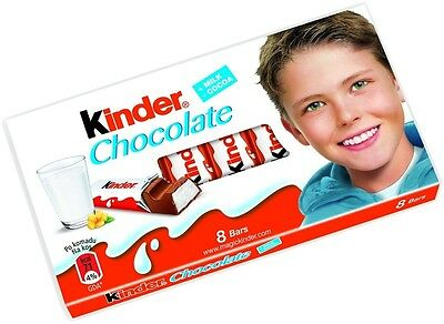 KINDER CHOCOLATE TREATSIZE BARS 10 packs of 8 Bars