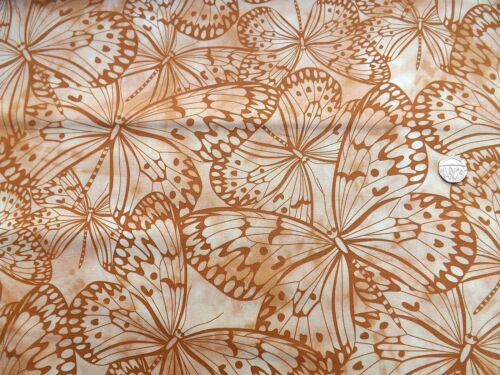 Melody Large Butterflies Coffee fabric fq 50x56cm 100/% Cotton F 5620 P