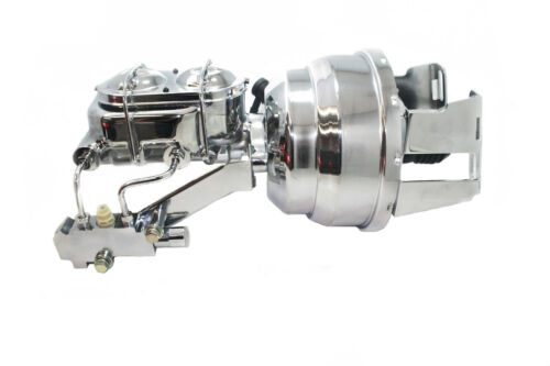 """58-70 Chevy Full Size Car Chrome 8/"""" Booster w// Master Cylinder /& Prop Valve"""