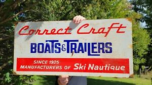 OLD VINTAGE LARGE CONNECT CRAFT BOATS AND TRAILERS FISHING BOAT PORCELAIN SIGN