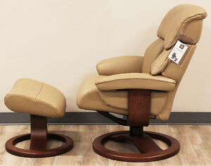 Details about Showroom Fjords Alfa Large Recliner Chair and Ottoman AL 552 Tan Leather Lounger