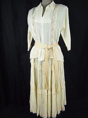 Affidabile Martha Di Taos Vintage Anni 70 In Pizzo Panna Maglia & Scopa Skirt-bust 38/ Modellazione Duratura